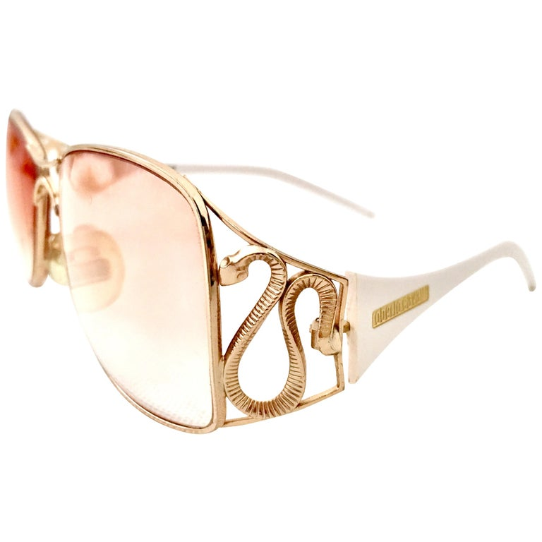 2c0020ed53 20th Century Roberto Cavalli White and 22K Gold Plate Logo Snake Eye Glasses  For Sale at 1stdibs