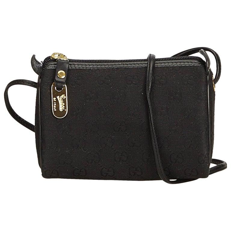 055e7c93b0b Gucci Black GG Jacquard Crossbody Bag at 1stdibs