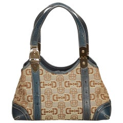 Gucci Brown Horsebit Jacquard Shoulder Bag