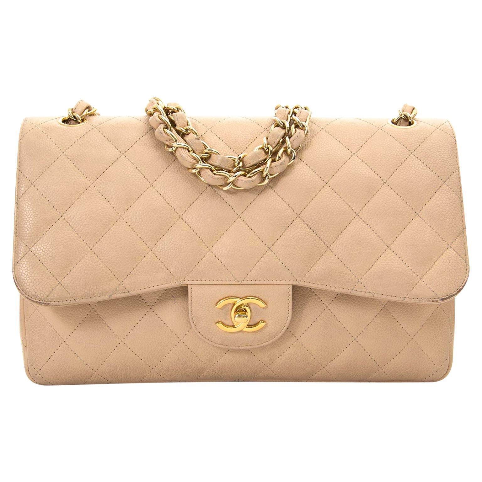 4ea3a704f6d8 Chanel Jumbo Beige Double Classic Flap Bag Caviar GHW at 1stdibs