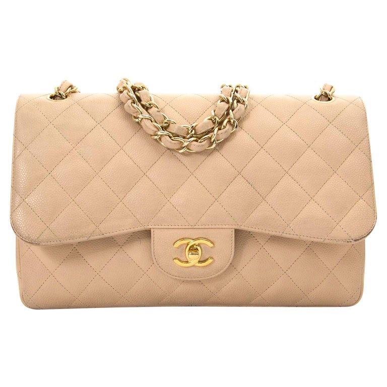 bbdb815bad27 Chanel Jumbo Beige Double Classic Flap Bag Caviar GHW at 1stdibs