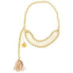 Rare Vintage Chanel Pearl Tassel Chain Belt