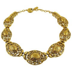 Yves Saint Laurent YSL Vintage Textured Nugget Oval Swirl Necklace
