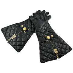 Chanel Vintage Iconic Black Quilted Kidskin Leather Rue Cambon Gloves Size 7 1/2
