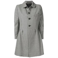Comme des Garcons Black and White Wool Check Coat