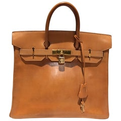 Vintage Haut à Courroies 32 in Brown Natural Leather + 2019 Hermes Spa Invoece