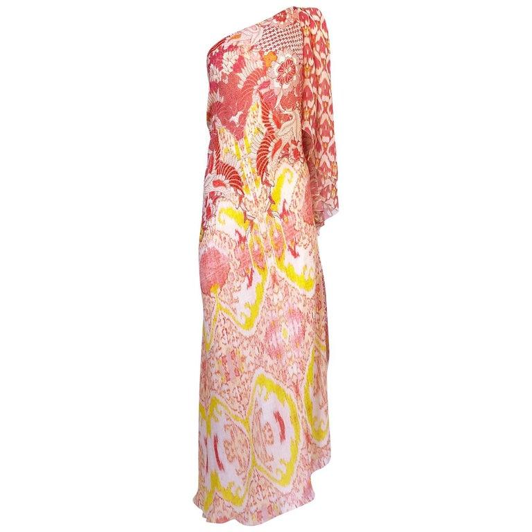 Recent Roberto Cavalli Printed Bias Cut Silk One Shoulder Dress For Sale