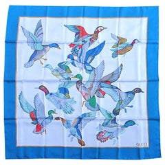 Gucci Silk blue Scarf Flock of Flying birds, NEW, Never worn 1990's
