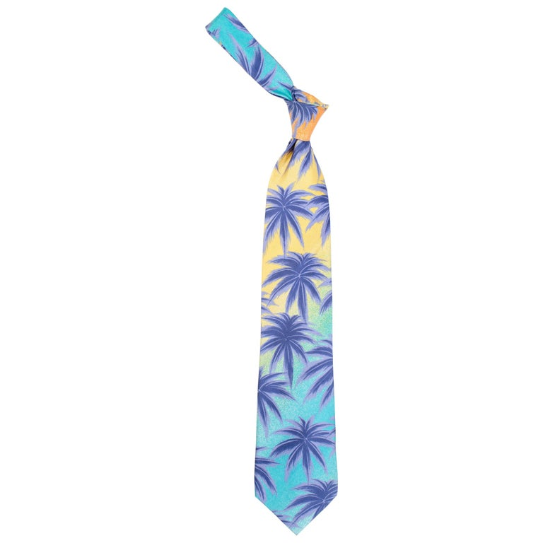 1990s Gianni Versace Miami Palm Tree Tie For Sale