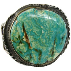 Sterling Silver Native American Turquoise Navajo Cuff Bracelet Old Pawn