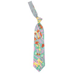 1990s Gianni Versace Miami Geometrical Tie With Flowers