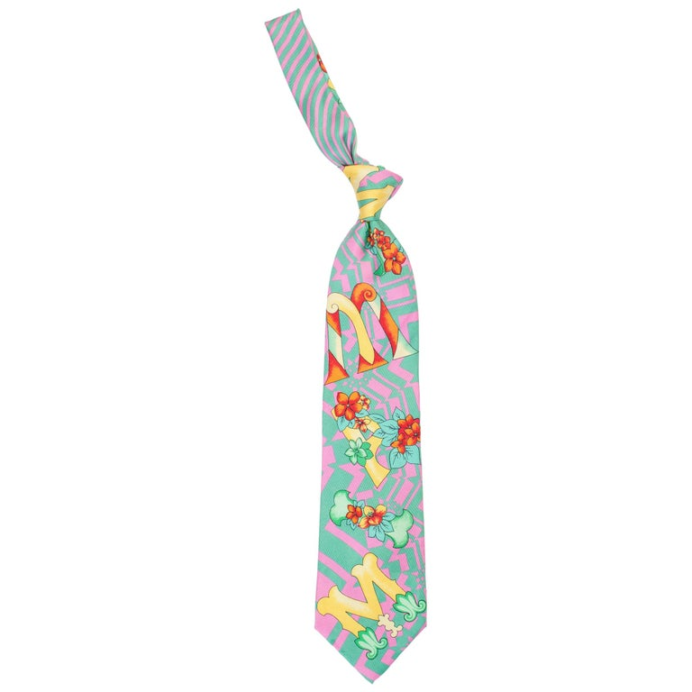 1990s Gianni Versace Miami Geometrical Tie With Flowers  For Sale