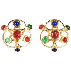 CHANEL  Gold-Tone Gripoix earrings