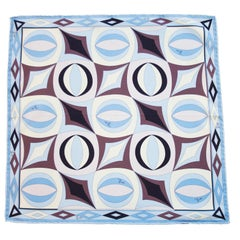 Early 2000s Pucci Blue and Brown Printed Silk Mini Scarf