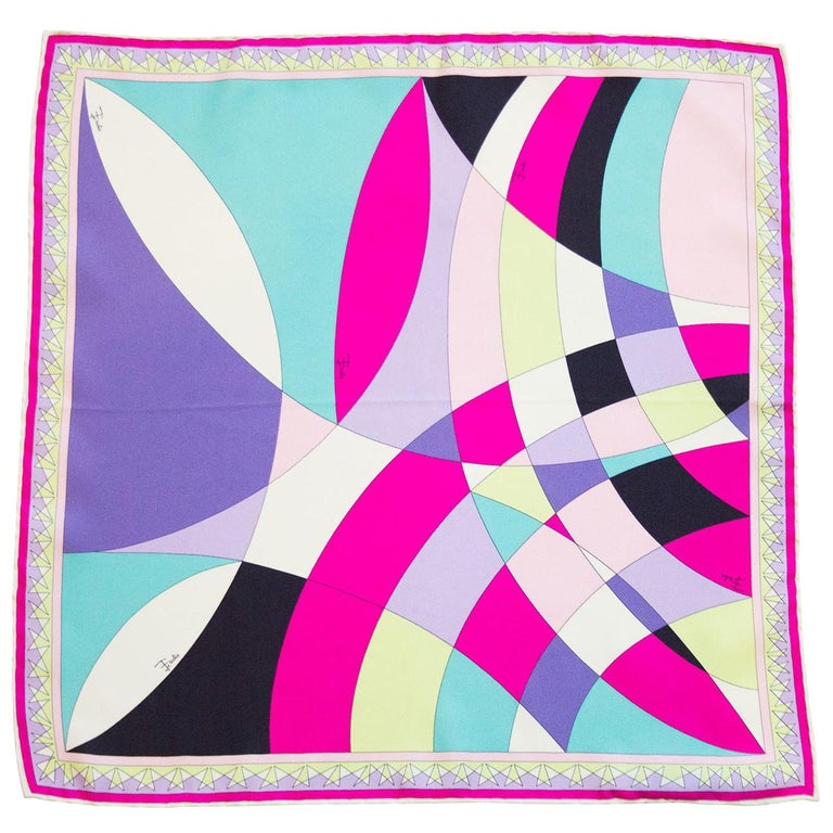 Early 2000s Pucci Pink, Purple and Chartreuse Printed Silk Mini Scarf 1