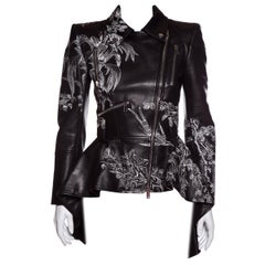 ALEXANDER MCQUEEN  Embroidered Leather Biker Jacket Sz 40 NWT