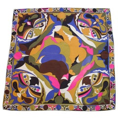 Late 1990s Emilio Pucci Brown, Pink and Forest Green Printed Silk Scarf