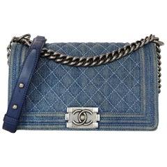 Chanel Blue Denim Medium Boy Bag W/ Silvertone Hardware