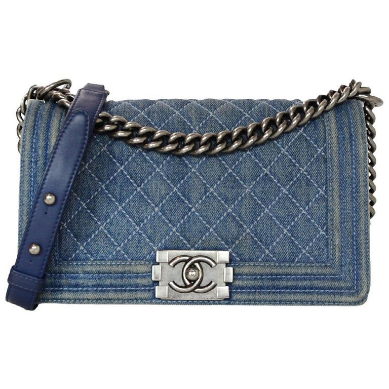 fa33dfc3d6ef Chanel Blue Denim Medium Boy Bag W/ Silvertone Hardware For Sale at ...