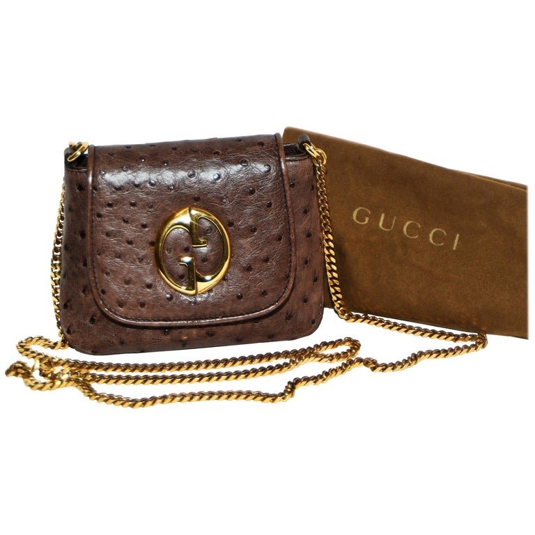 524a6e60903 Gucci Brown Ostrich 1973 Cross Body Bag For Sale at 1stdibs