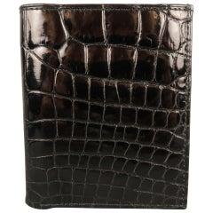 Men's SAKS FIFTH AVENUE Black Patent Alligator Leather Bifold Wallet