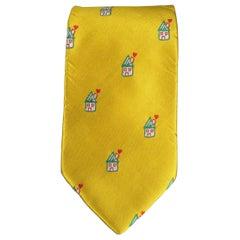 Men's Vintage MOSCHINO Gold Silk Love House Print Tie