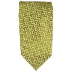 SALVATORE FERRAGAMO Green & Gold Anchor Print Silk Tie