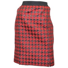 D & G Red Houndstooth Skirt