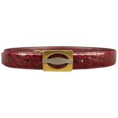 Men's Vintage D. FINE Size 30 Burgundy Textured Leather Gold Buckle Belt