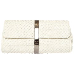 CHANEL  Python Cream Clutch with Chain