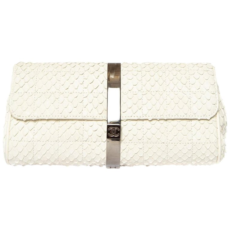 CHANEL  Python Cream Clutch with Chain For Sale