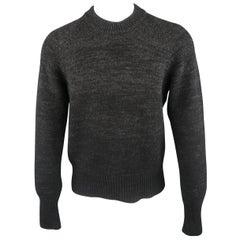 PRADA Size M Grey & Black Heathered Ombre Wool / Cashmere Crew-Neck Sweater
