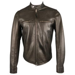 Men's EPAULET M Black Leather Tab Band Collar Biker Jacket