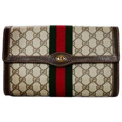 Gucci Vintage GG Monogram Supreme Flap Clutch Bag W/ Red/Green Web