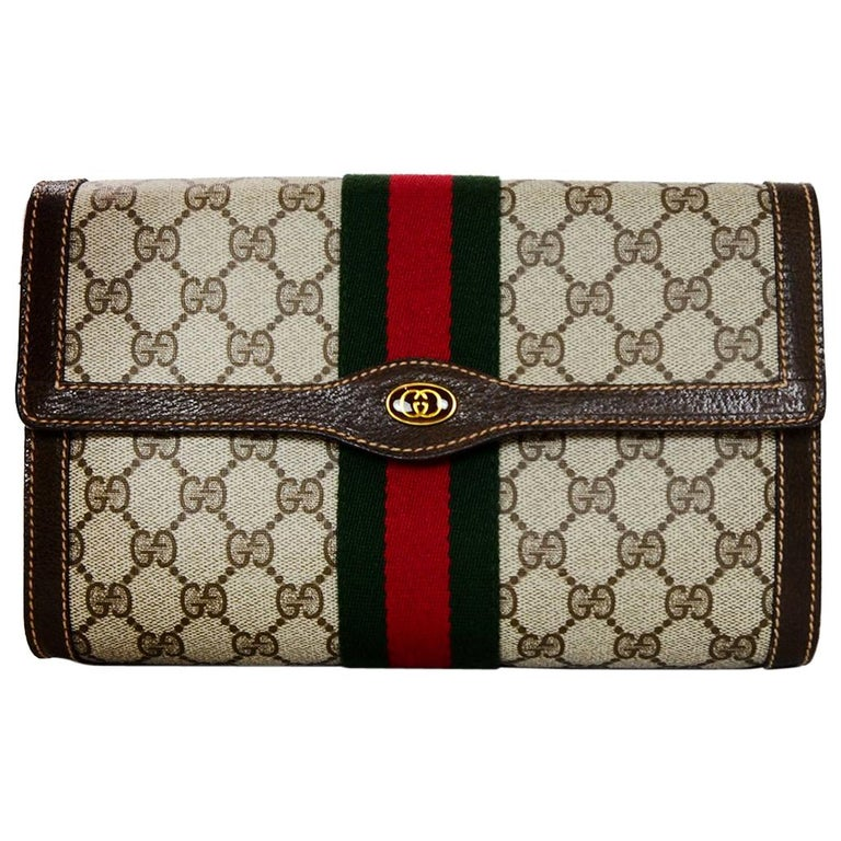 Gucci Vintage GG Monogram Supreme Flap Clutch Bag W/ Red/Green Web For Sale