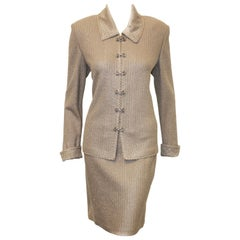 St. John Evening Silver Skirt Suit with Rhinestone Closures
