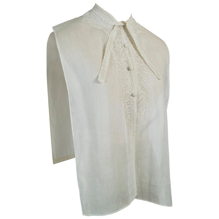 Sheer Edwardian Crewel Work Neckcloth Dickey, 1910s For Sale