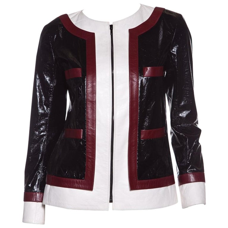 CHANEL  Multi Color-Block Leather Jacket  For Sale