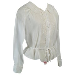 Edwardian Embroidered Batiste Pintuck Blouse, 1910s