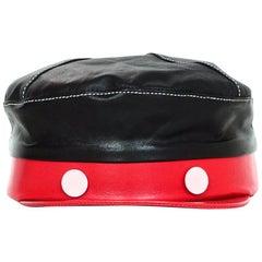 Gigi Burris Black/Red Disney 1928 Willie Mickey Mouse Leather Cap Hat