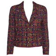 CHANEL  Multicolor Metallic Tweed Jacket Size M