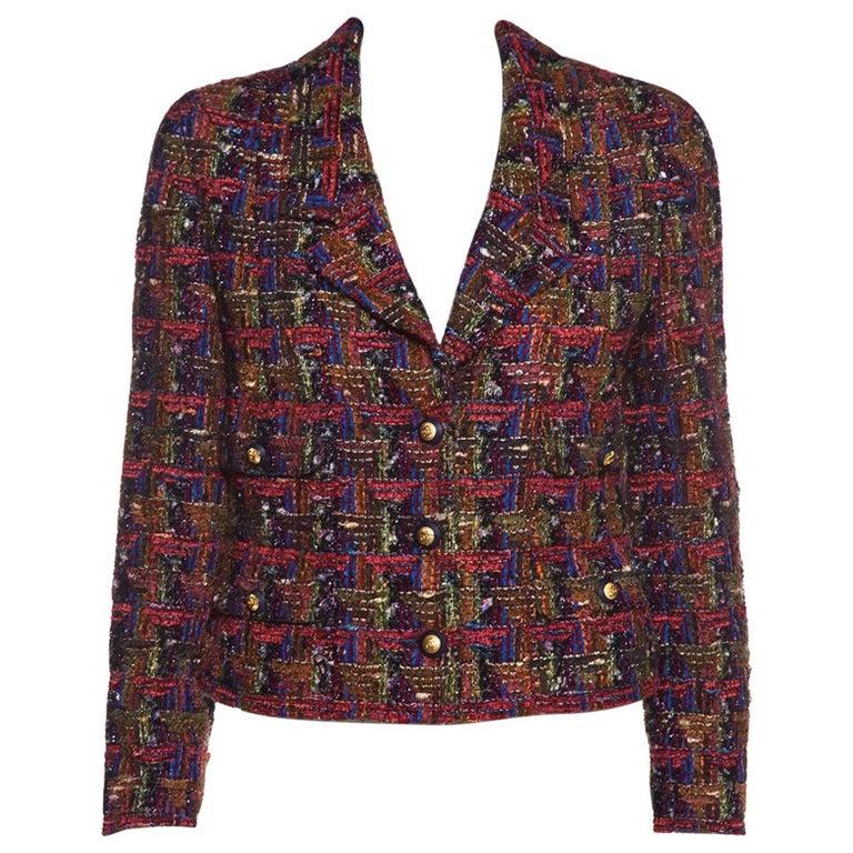 CHANEL  Multicolor Metallic Tweed Jacket Size M For Sale