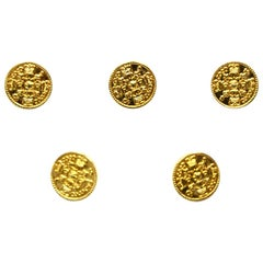 Chanel Goldtone CC Medium Shank Buttons W/ Crowns (Set of 5)