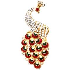 Art Deco Gold Enamel & Austrian Crystal Peacock Brooch-Necklace Pendant