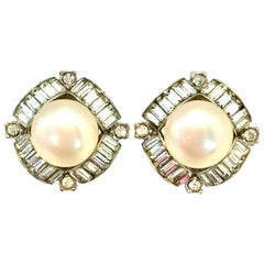 Mid-20th Century Silver, Faux Pearl & Austrian Crystal Earrings By, Marvella