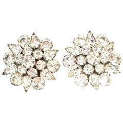 20th Century Silver & Austrian Crystal Dimensional Earrings