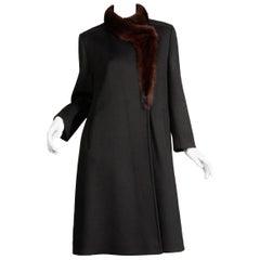 1970s Vintage Black Wool + Brown Asymmetric Mink Fur Classic Coat