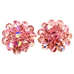 20th Century Silver & Pink Glass Bead Earrings