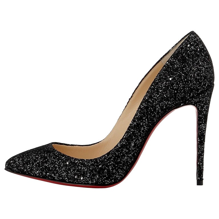 54d2b71b533 Christian Louboutin NEW Pigalle 100 Black Glitter High Heels Pumps in Box  For Sale at 1stdibs
