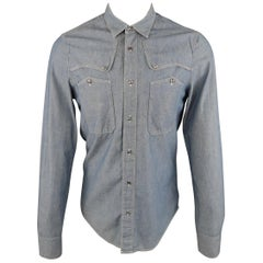 BALENCIAGA Size S Blue Contrast Stitch Chambray Patch Pocket Button Up Shirt